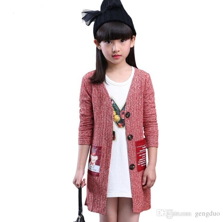 Girls Long Cardigan Sweater 2017 Kids Outerwear Jacket Teenage ...