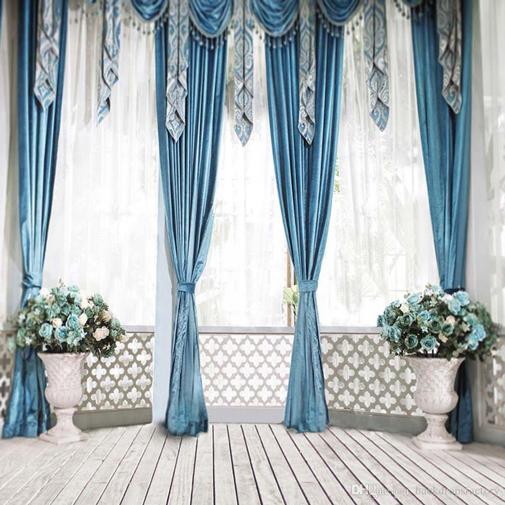 Indoor Balcony Backgrounds For Photo Studio Wedding Blue Curtains Vases  With Flowers Hollow Fence Window Photography Backdrops Wood Floor Wedding  Photo ...