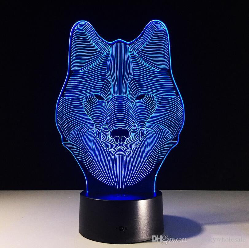 Weihnachtsgeschenk 3D Tier geformt Wolf Kopf Nachtlicht LED 7 Farben ändern Touch Kids Nachttischlampe