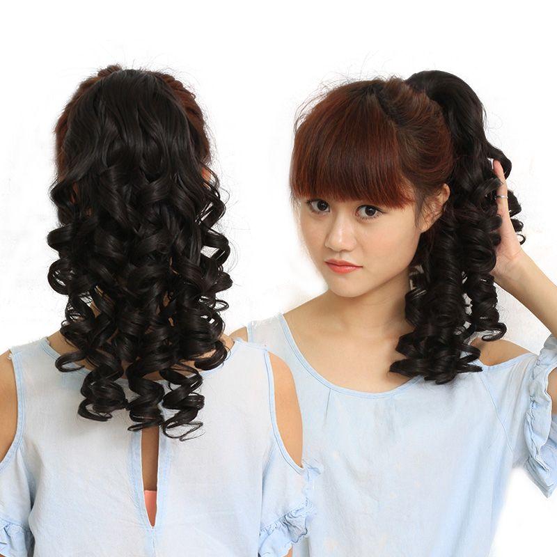 Natural Looped String Clip Ponytail Fake Hair Extensions False Hair