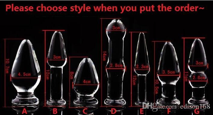 2018 New Crystal Glass Dildos Vagina Plug Butt Plug Unisex Anus Enlarger Dilator Masturbation Product Adult Bondage BDSM Sex Anal Toy 7 Styl