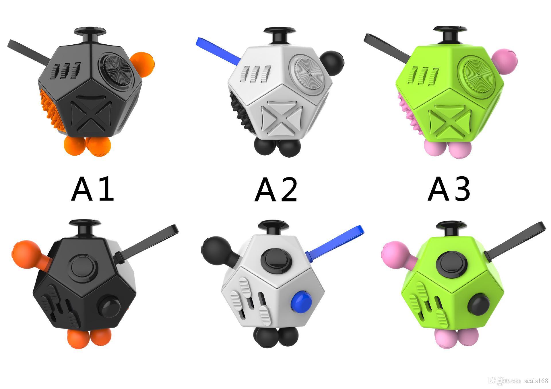 2017 Fidget Cubo Brinquedos Adulto Crianças 2 Geração Brinquedos de Ansiedade De Descompressão 12 Mão De Superfície Novidade Mordaça PC Brinquedos Presentes HH-T78
