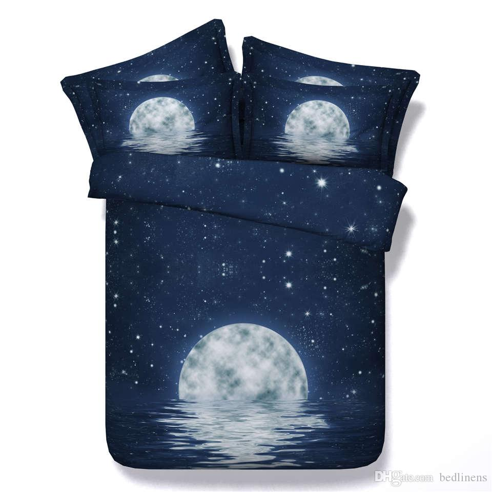 Star Galaxy Dark Blue Moon Water 3d Printed Bedding Set Twin Full Bedcover Silk Oringina 200x200 Queen King Size Bedspreads Bedclothes Duvet Covers Fashion Design Hot Sale