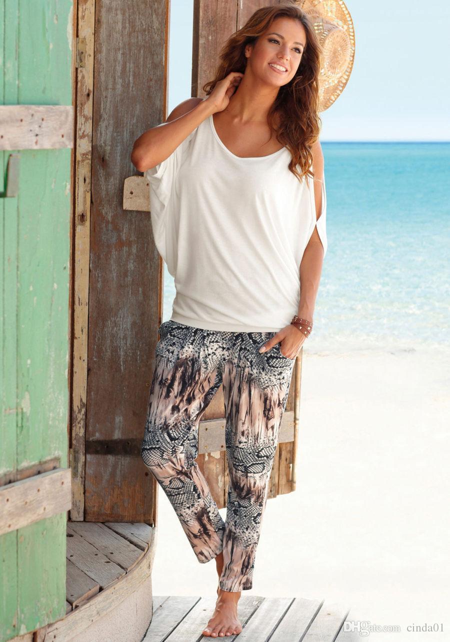 بلايز عارضة الصيف النساء بأكمام قصيرة فضفاضة كاندي اللون شبيه بجناح الخفاش بأكمام قصيرة مفتوحة الباردة الكتف الأعلى موضة الملابس تيز