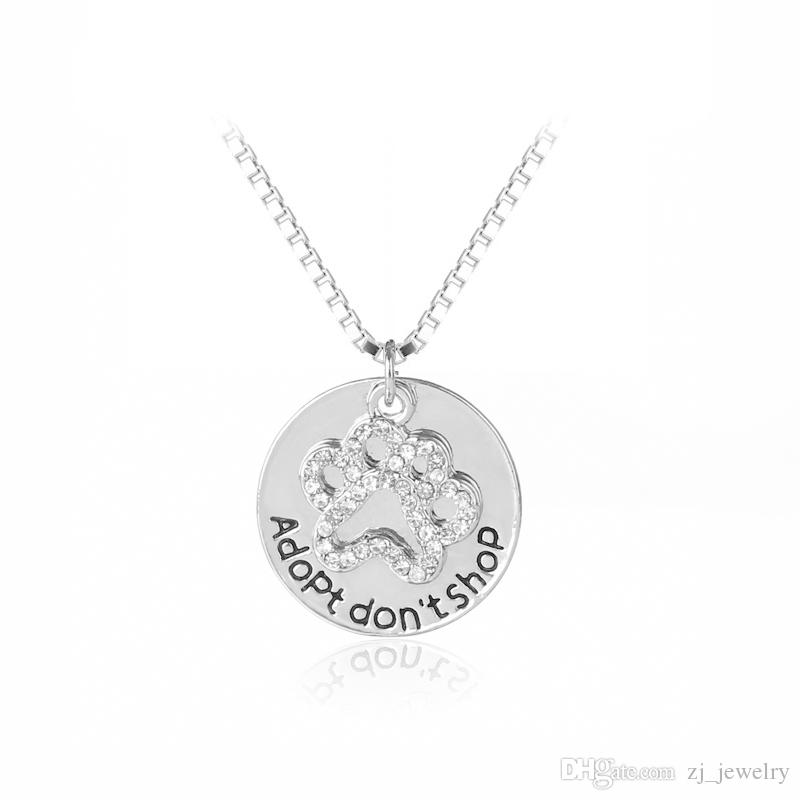 Dont Shop ADOPT Paw Cat Dog Pet Lover Crystal Puppy Paw Message Crystal Paw Print Pendant Necklace