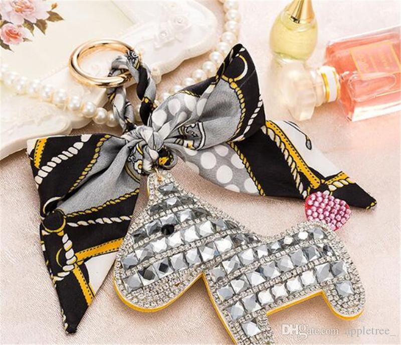 Keychain keyring Women Handbag Bag Pendant keychains Key Chains crystal horse key ring keyrings womens girls Christmas Gifts wholesale