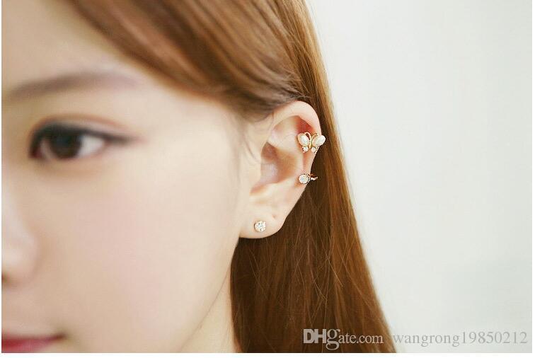 Boucles d'oreilles clip oreille sans trou la nouvelle oreille papillon diamant papillon tournesol pince quatre styles