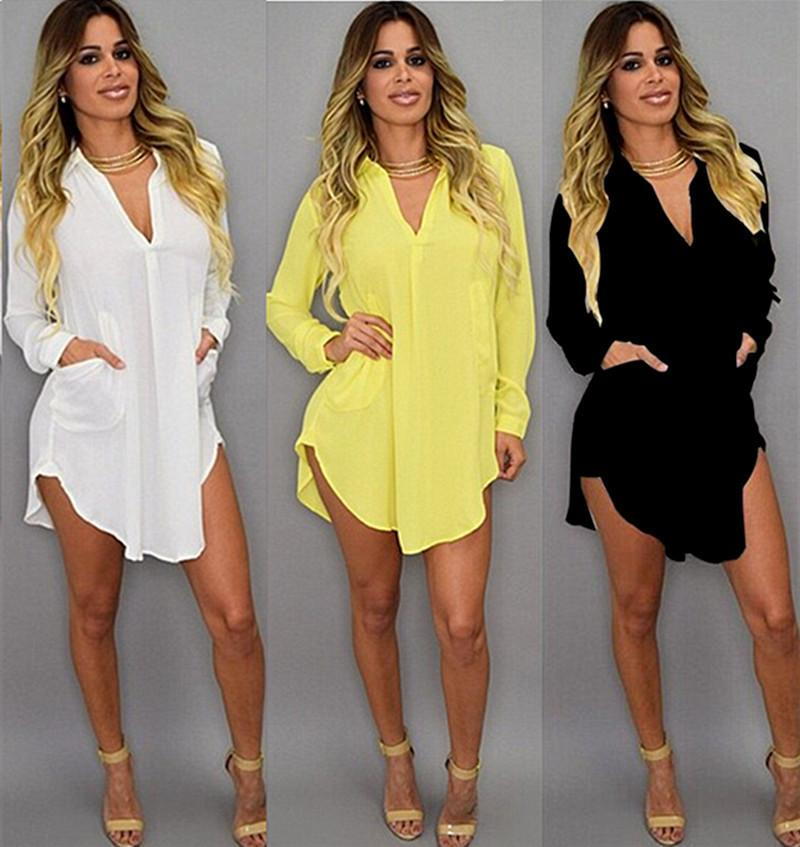 Été Sexy V Cou Robe De Plage Courte En Mousseline De Soie Blanc Mini Lâche Casual T Shirt Dress Plus La Taille Des Femmes Vêtements