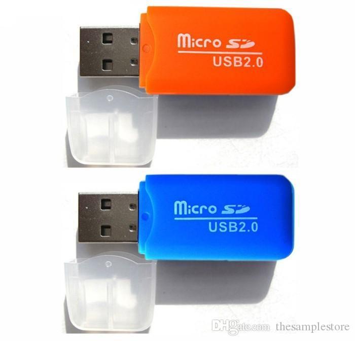 Leitores de cartões universais Premium estáveis TF T-Flash Micro cartão de memória Secure Digital Agradável Mini USB 2.0 Adaptador Leitor de Cartão de Memória TransFlash