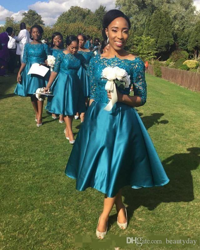 Teal Wedding Gown: Bohemian Hippie Bridesmaid Dresses 2017 Teal Lace Maid Of