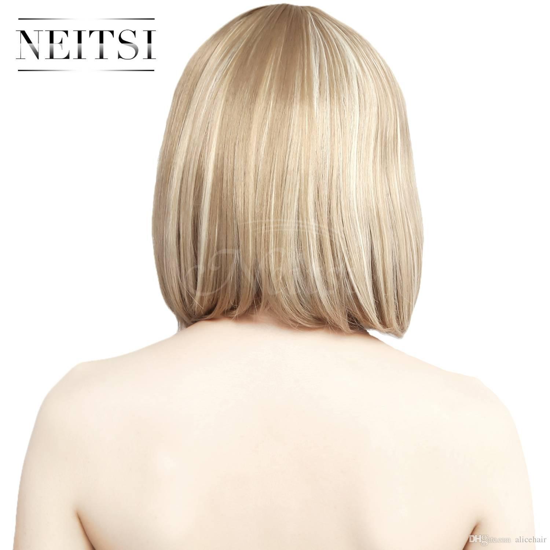 2018 Neitsi Highlight Short Bob Hair Wigs Full Bangs Womens Cosplay
