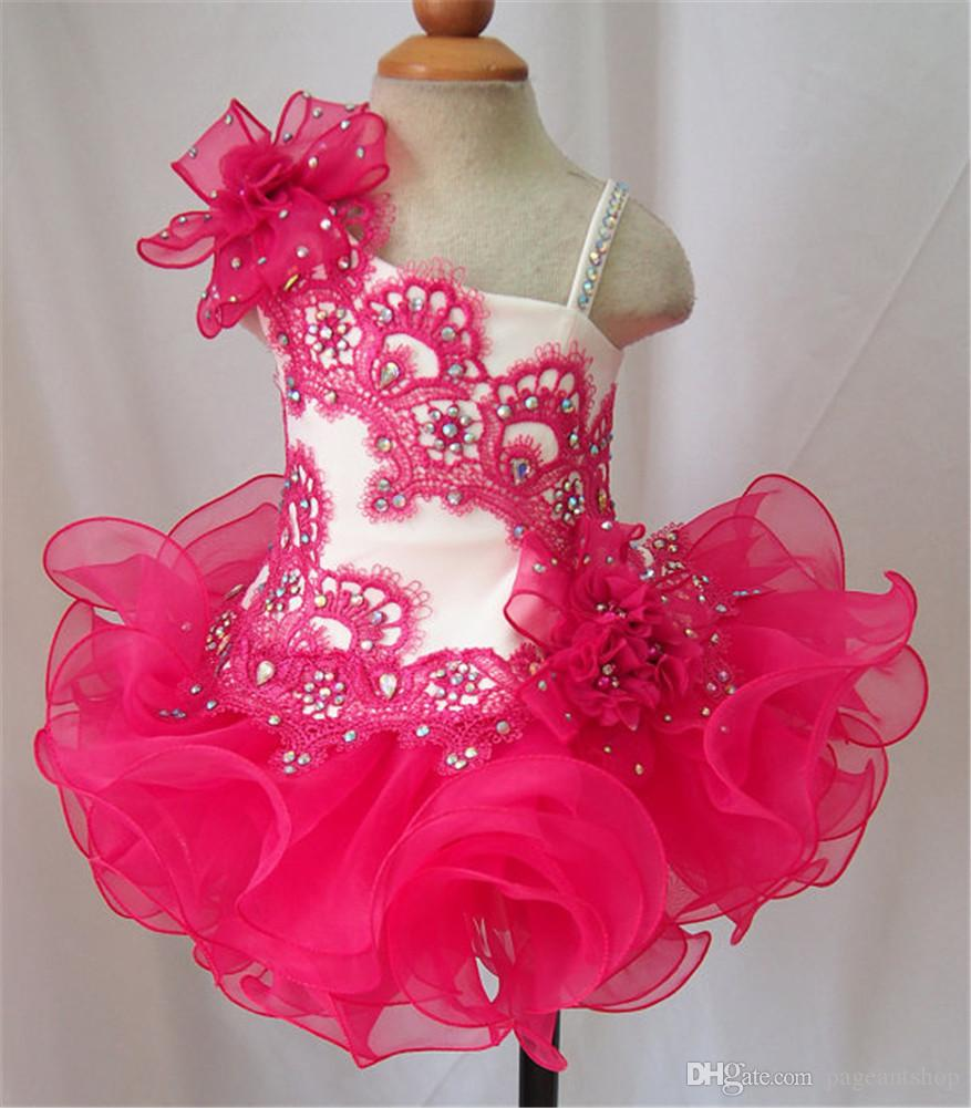 New Lace Girls Straps Beaded Pageant Cupcake Dresses Infant Short Skirts Toddler Mini Tutu Girls Formal Occsion Gowns