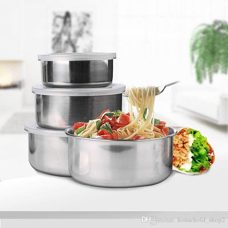 5 Pcs/set Stainless Steel Fresh Bowl Round Crisper with Cover Kitchen Tool Fruits Vegetables Storage With Lids