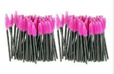 Hot Attraktive 100 teile / los bilden pinsel Rosa synthetische faser Einmal Wegwerf Wimpernbürste Mascara Applikator Zauberstab Pinsel JE24 freies shippi