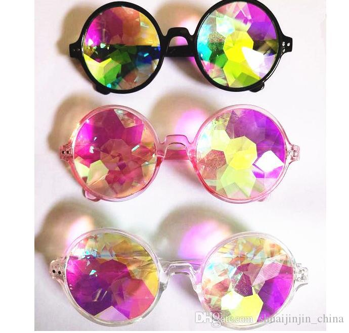 WOMEN Fashion Geometric Kaleidoscope Glasses Rainbow Rave Lens Bling Bling Prism Crystal Party Diffraction Sunglasses KKA3280