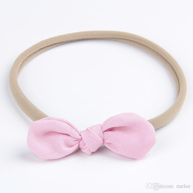 INS Baby Nylon Headbands Bunny Ear Elastic Headband Niños Niños Accesorios para el cabello Moda Hairbands Baby Girls Nylon Bow Headwear Tocado