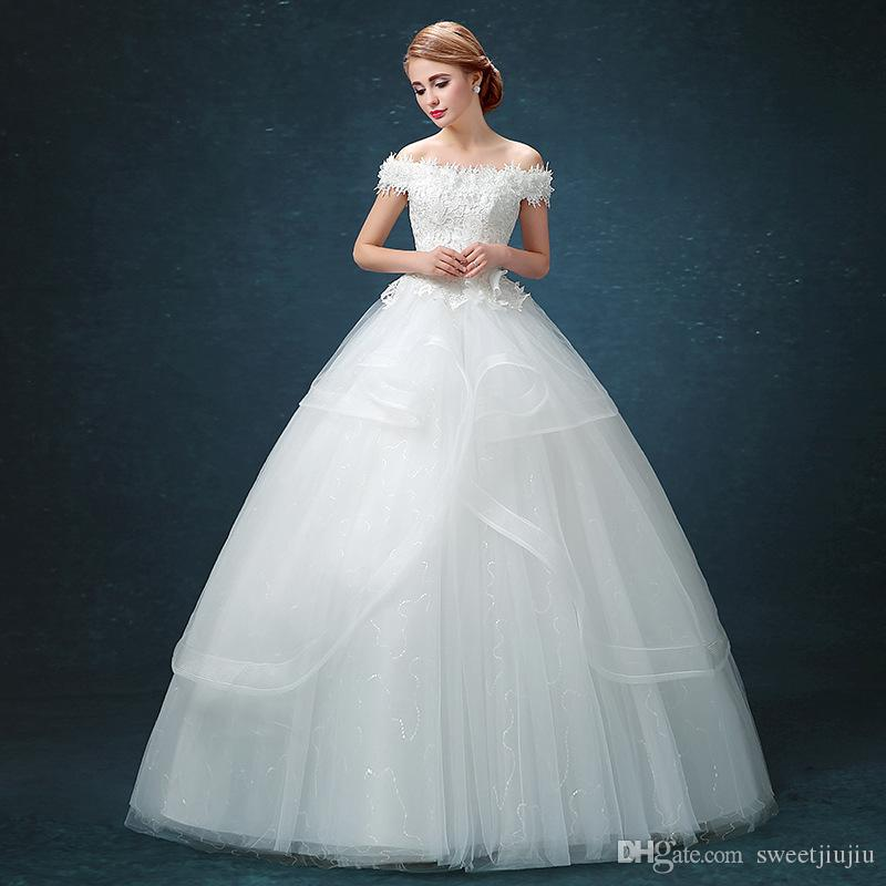 Wholesale New Wedding Dress Korean Bride White Lace Doll Collar Sweet Princess Designer Gowns Fall Dresses