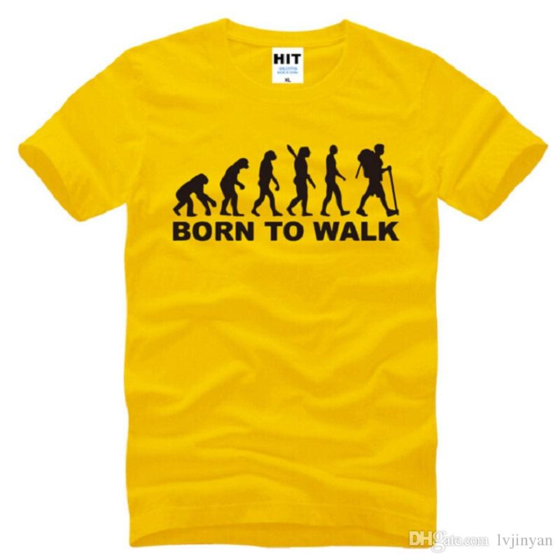 New Summer Fashion Born To Walk Evolution T Shirt Men Short Sleeve Fashion Cotton Cool Evolution T-Shirt Sport Tops
