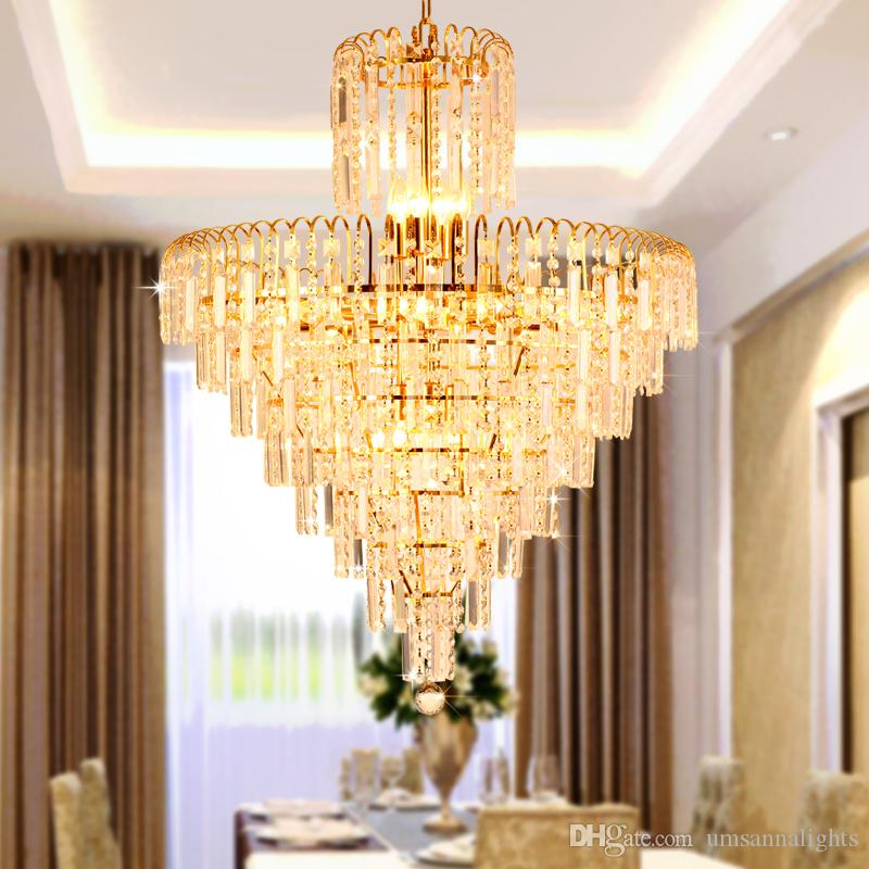 Led modern crystal chandelier american gold chandeliers lights led modern crystal chandelier american gold chandeliers lights fixture home indoor lighting dining room hotel hall restaurant led lamps cheap chandelier aloadofball Choice Image