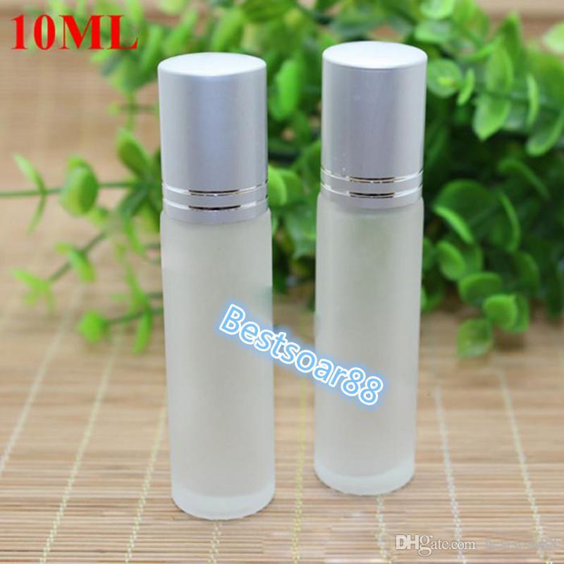 En gros 10 ml 1/3 OZ Bouteilles en verre vides Roller Clear parfum Essentiel rechargeable Rouleau sur les bouteilles avec bouchon noir et argent