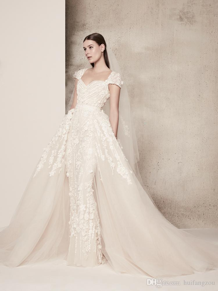 Weinlese Elie Saab eine Linie Hochzeits-Kleid mit abnehmbarem Rock Schatz-Hals Appliques Kappen-Ärmeln nach Maß Brautkleider Brautkleider