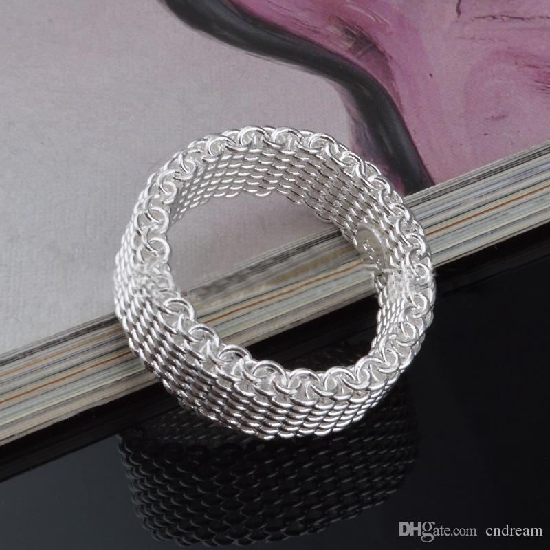 925 anel de prata esterlina tecer malha anel de dedo anel de banda para as mulheres moda jóias de casamento presente da gota do transporte
