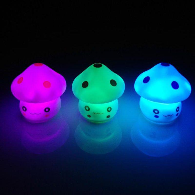 New Cute LED Mushroom Lamp 6.5cm Color Changing Party Lights Mini Soft Baby Child Sleeping Nightlight Novelty Luminous Toy Gift