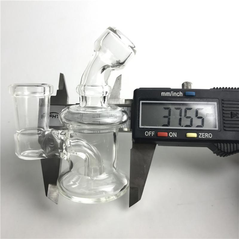 Mini Oil Rigs Glass Bongs with 14mm Female 3.2 Inch Thick Pyrex Clear Heady Glass Blunt Recycler Bong for Smoking