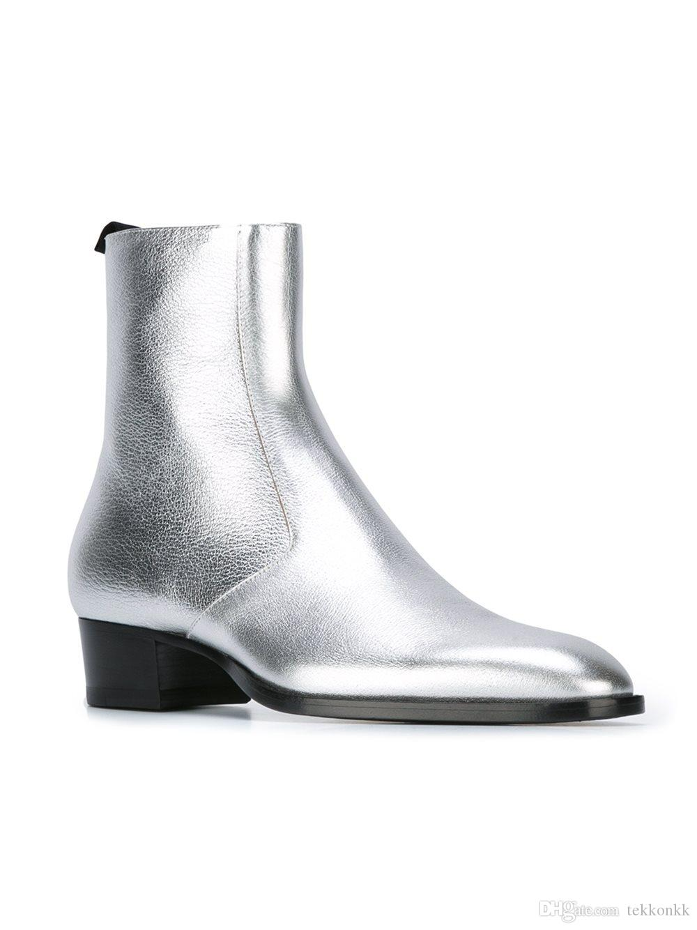 Top Fashion Silver Chelsea Ankle Boots Genuine Leather Pigskin
