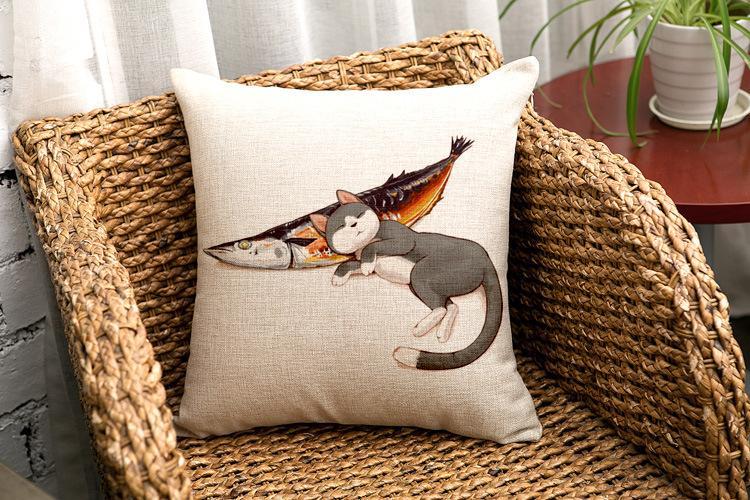 Moda animale cuscino gatto pesce gatto carne bambini divano decorativo tiro cuscino auto sedia arredamento casa cuscino federa almofadas