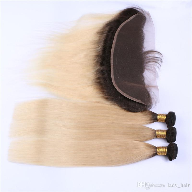 Blonde Ombre 13x4 Lace Frontal Closure With Weaves Silky Straight Two Tone 1B/613 Ombre Peruvian Human Hair 3Bundles With Frontal
