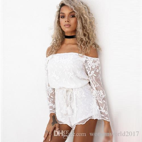 4a9a45e111 Women White Black Lace Jumpsuit Slash Neck Long Sleeve Casual Beach Romper  Embroidery Floral Short Jumpsuits Playsuit Jumpsuits Women s Jumpsuits  Online ...