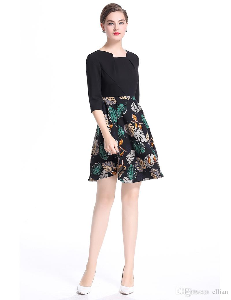 Moda Drukuj Kobiety A-Line Sukienka Square Collar Pół Rękaw Ol Office Lady Dresses 0917189