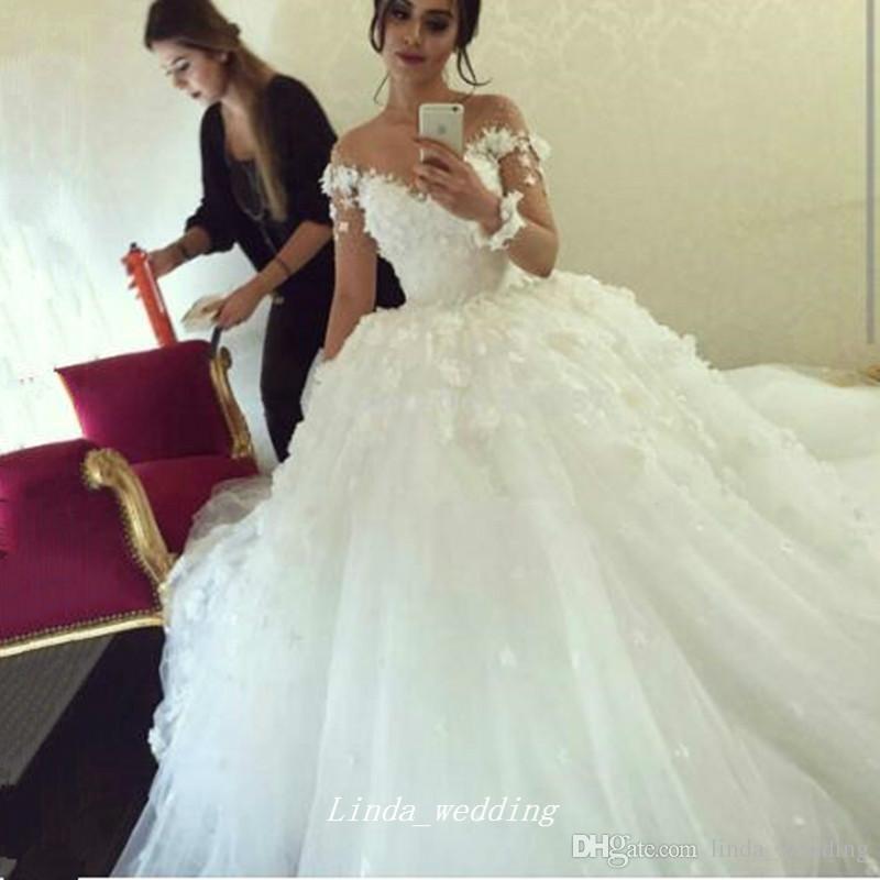 Haute Qualité élégant Arabe Musulman Longues Manches Robe De Mariée Turc Islamique Applique Fleurs Dentelle Femmes Robe De Soirée De Mariée Plus La