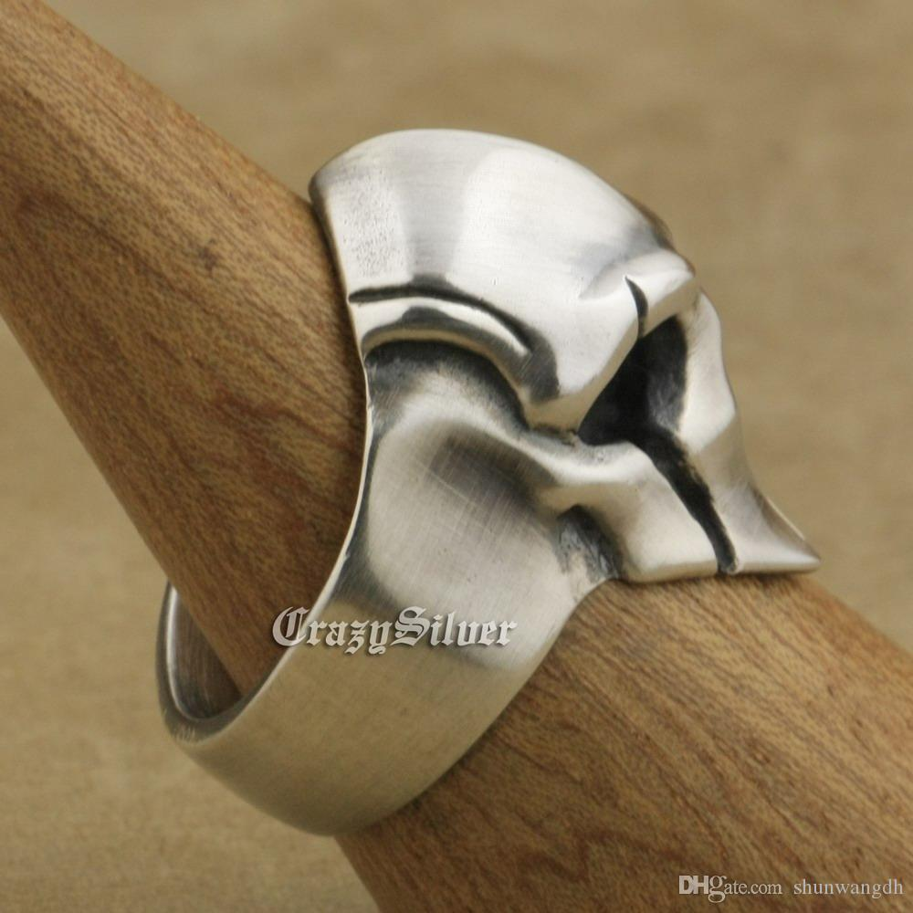 Brand LINSION Heavy 925 Sterling Silver Guard Helmet Ring Mens Biker Rock Punk Ring TA08 US Size 7~15