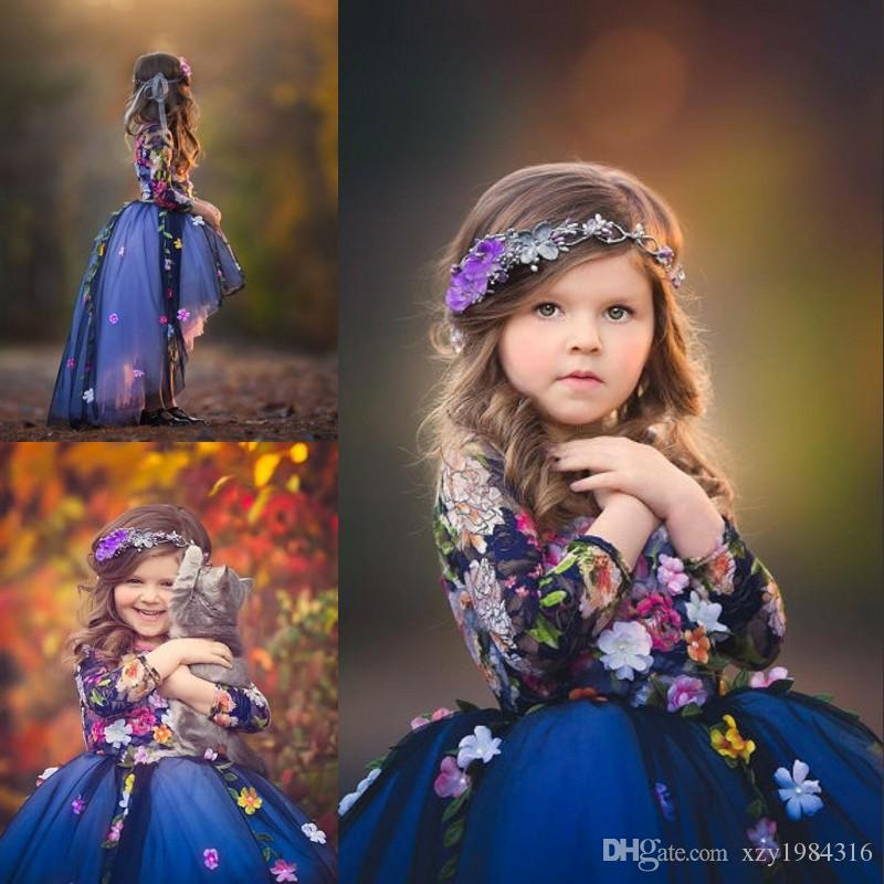 7266995f41a Midnight Blue Flower Girl Dresses Colorful Floral Applique Lace Long Sleeve  Girls Pageant Dress Stylish Lovely Tulle Hi Lo Flower Girl Dress High  Street ...