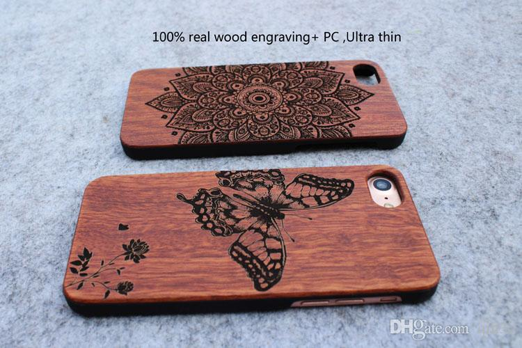 Custom Laser Engraved Wood Phone Case Wood Cases For Iphone 5s 6 6s plus 7 7plus Samsung Galaxy S5 S6 S7 Edege