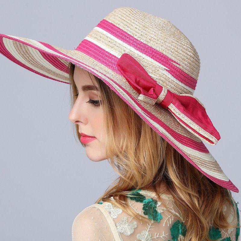 cb1a86d6f98 2017 New Women s Summer Sun Hats Large Brim Beach Hat Bow Tie Casual ...