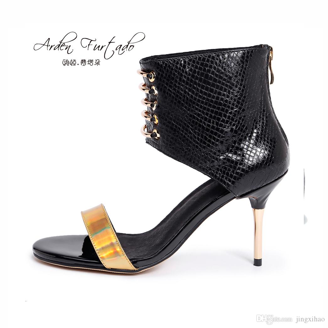34b1099fb9e6 New 2017 Summer Shoes for Woman Genuine Leather Back Zipper Open Toe ...