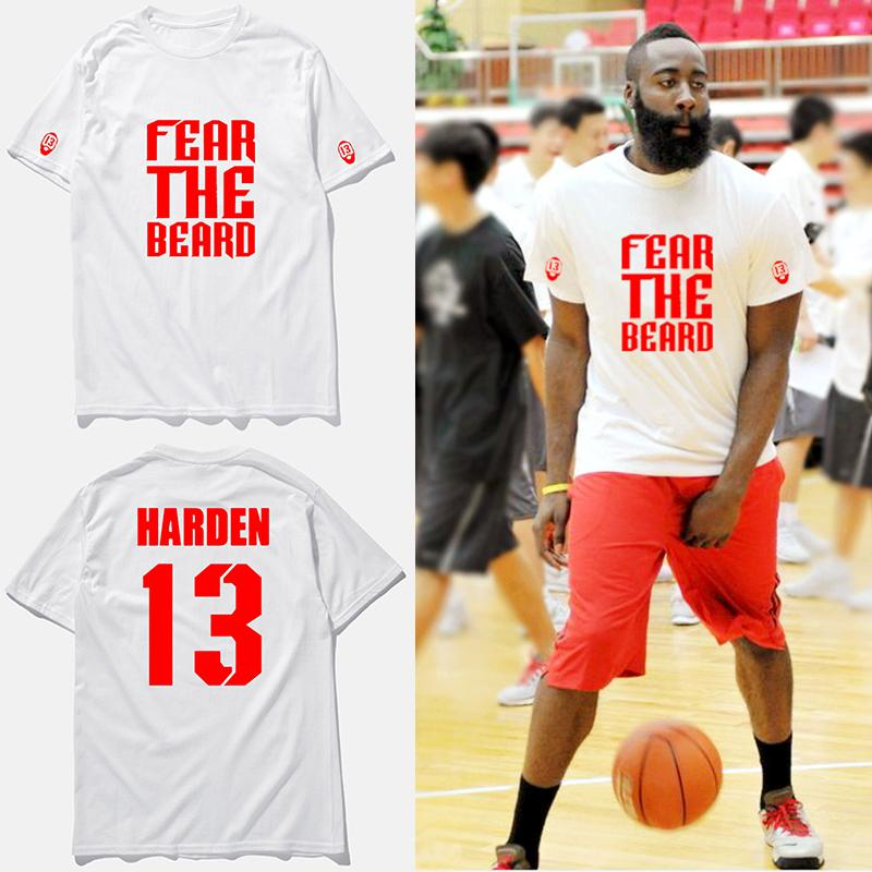 online store 7e5be 98442 James harden jersey t shirt fear the beard white fashion basketball t-shirt  short sleeve men top clothing tee shirt homme,tx2425