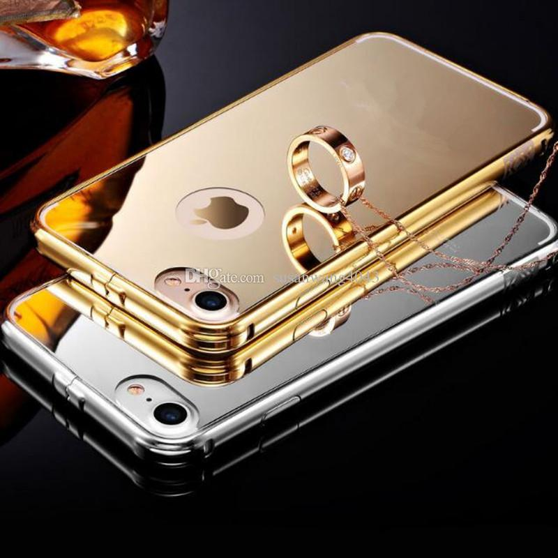 metal mirror phone case cases for iphone 7 6 6s plus 5s Stainless Acrylic defender case Electroplate mirror protector cover case GSZ171