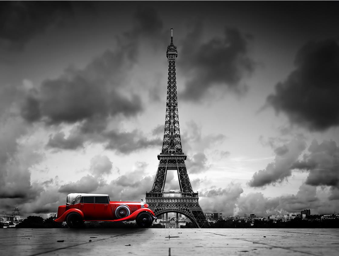 Luxury European Modern Paris Eiffel Tower Black And White Color Car Mural 3d Wallpaper Wall Papers For Tv Backdrop Wallpapers Pc The