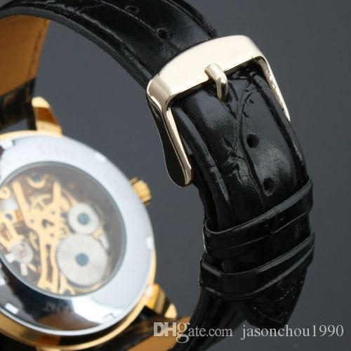 Os Recém-chegados Tempo Limitada Vencedor Por Atacado Coréia Relógio Tendência Ocasional Ventilador Ocasional Semi Manual Relógio Mecânico Homens Cinto Estudantes relógio de Pulso