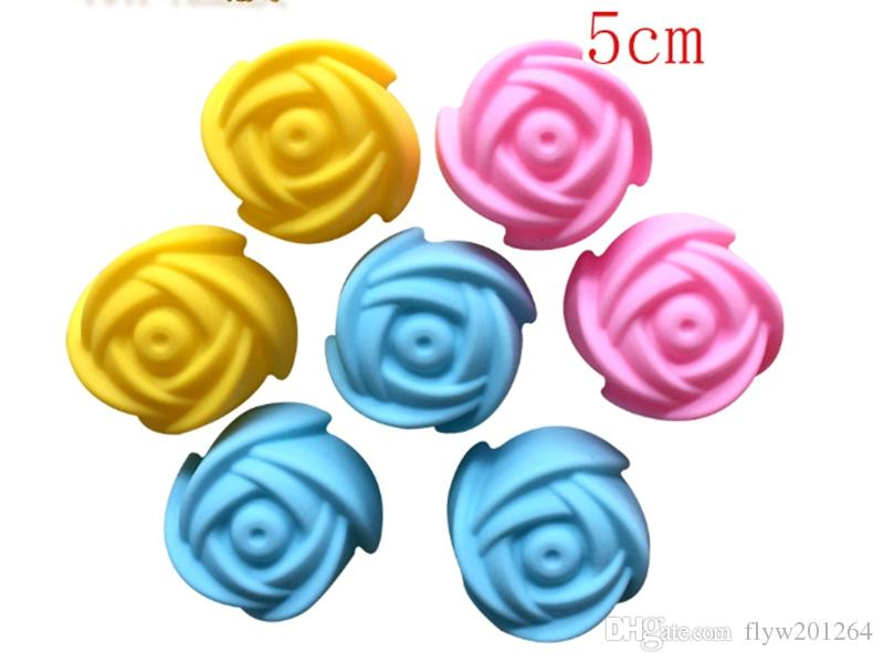 Fast shipping 5cm Rose Flower Cake Mold Pudding Grade Silicone Cake Mold Cupcake Mold Baking Mould Bakeware