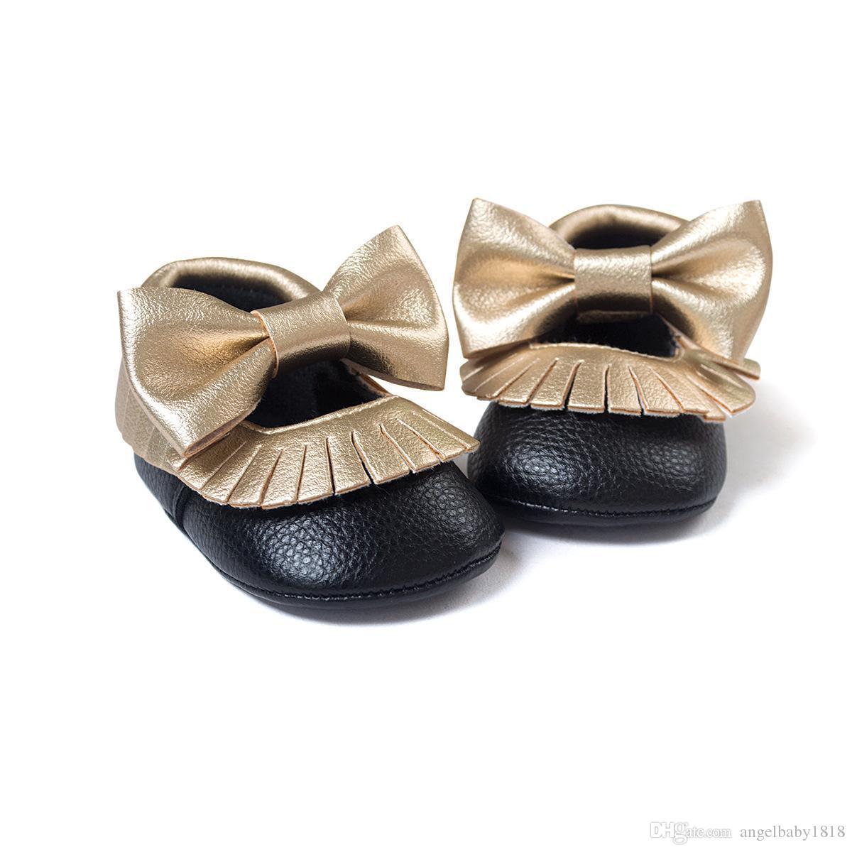 Лук Детская Обувь Мокасины Мягкой Подошвой Кожа Детская Обувь Девушки Мальчики Moccs Детские Первые Ходунки Дети Детская Обувь Белый Черный