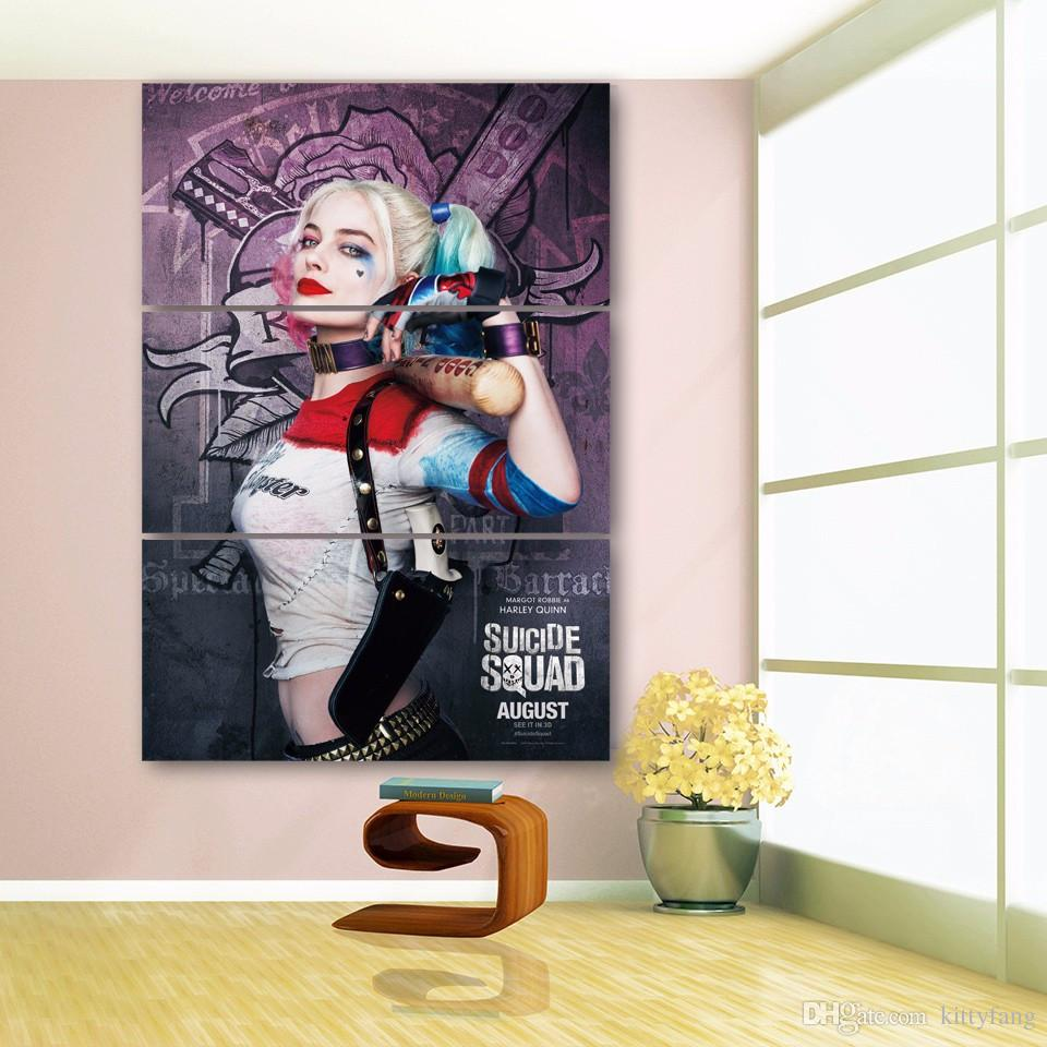 Framed HD Printed Harley Quinn Batman Movie Picture Wall Art Canvas Print Decor Poster Canvas Oil Painting