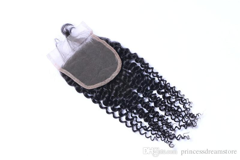 Best quality 4*4 dosures Lace closure kinky curly Hair Lace Closure 100% Unprocessed Human Hair Free/Middle/Side/3 Part