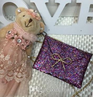 5 adet Moda sequins parlak kız çanta sevimli çocuk prenses Messenger çanta çanta
