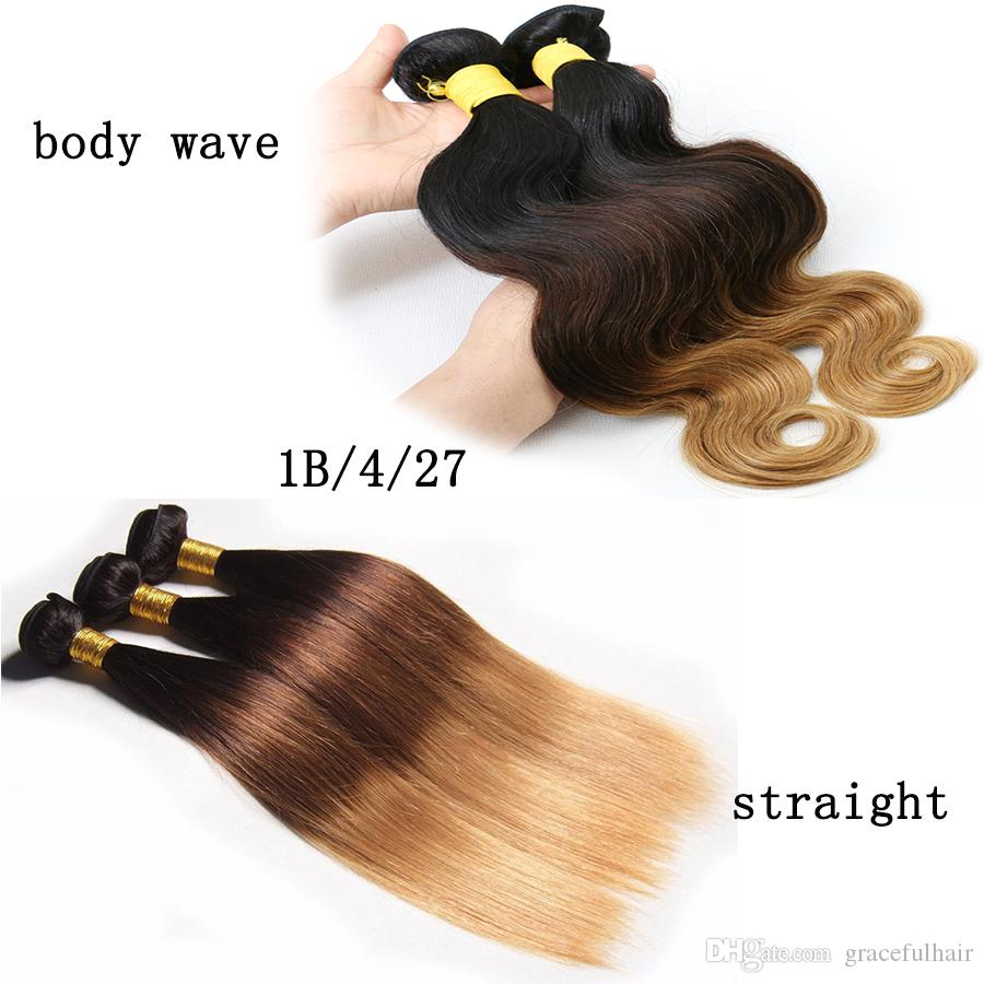 1pc Peruvian Human Hair Weaves Ombre Hair Bundles Brazilian Straight Bundles Body Wave Wefts Straight Ombre Hair Extensions 1B/4/27