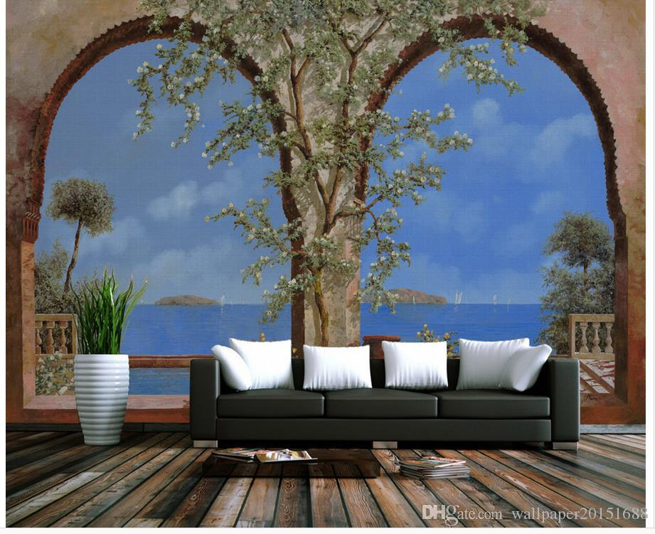 3d Murals Wallpaper For Living Room Outside Balcony Mediterranean Landscape Oil Paintings Classic Walls Hd Wallpapers